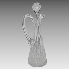 Beautiful Cut Glass Cruet with Stopper ~ American Brilliant Period (ABP) 1876-1917