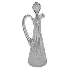 Beautiful Cut Glass Cruet with Stopper ~ American Brilliant Period (ABP) 1876-1917