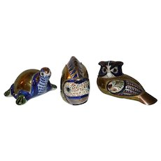 Vintage Tonala Pottery Turtle, Owl & Fish with Brass Overlay ~ Mexico 1950's