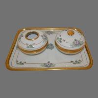 Three Piece Dresser  / Vanity Set ~ Porcelain ~ Hand Painted with Purple, Blue & Pink Flowers ~ Art Nouveau ~ Pickard Studios Chicago Il 1912-1918