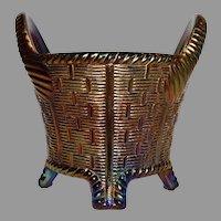 Northwood Blue Basket Weave Carnival Glass Bushel Basket Iridescent 1902-1925