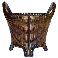 Northwood Blue Basket Weave Carnival Glass Bushel Basket Iridescent 1902-1925