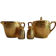 Elegant Gold Embossed Porcelain Creamer, Sugar, Salt and Pepper Set  ~ Hand Painted with Gold ~ AOG Grounded Pattern ~ Pickard Studios Chicago IL 1930-38