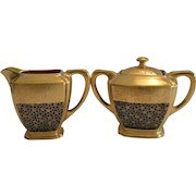 Elegant Porcelain Creamer and Sugar Set ~ Hand Painted with AOG Rose and Daisy Design with Tracery Black ~ Pickard Studios Chicago IL 1925-30