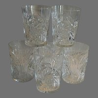 SIX (6) Tumbler / Cocktail Glasses ~  ABP Cut Crystal~ Wheat & Buzz Saw Design 1850-1929