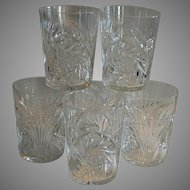 SIX (6) Tumbler / Cocktail Glasses ~  ABP Cut Crystal~ Wheat & Buzz Saw Design 1850-1929