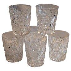 6 Tumbler / Cocktail Glasses ~ ABP Cut Crystal~ Classic Look