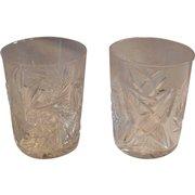 Pair Tumbler / Cocktail Glasses ~ ABP Cut Crystal~ Classic Look