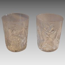 Pair Tumbler / Cocktail Glasses ~ ABP Cut Crystal~ Classic Look 1850-1920