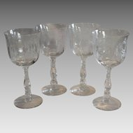 Set of 4 ~ Beautiful Wine Glasses with Etched Rose Design~ 10oz ~ Willowmere ETCH #333 – Stem #6024 ~by Fostoria, Ohio 1938-1970