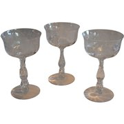 Three Champagne / tall sherbet Glasses with Etched Rose Design~ 6 oz ~ Willowmere ETCH #333  ~ by Fostoria, Ohio 1938-1970