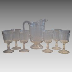 Antique Glass Pitcher and 6 Goblets ~ EAPG ~ Panels of Forget-Me-Nots / Regal ~ Bryce Brothers  Hammondville, Pa. ca 1875