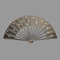 Beautiful Framed Folding Fan ~ Black Silk with Hand Painted flowers Circa 1880's to 1900's