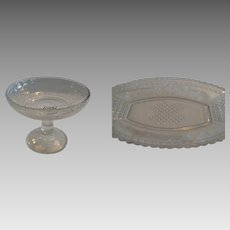 Antique Glass Compote and tray ~ EAPG ~ Panels of Forget-Me-Nots / Regal ~ Bryce Brothers Hammondville, Pa. ca 1875