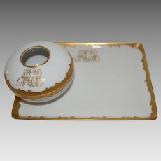 Limoges Tray and Hair Receiver Vanity Set~ White with Gold and Enamel ~ Tressemann & Vogt Limoges France / Pickard Decorating Studios Chicago IL  1905-1910