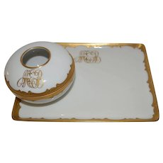 Vanity Tray and Hair Receiver Vanity Set~ White with Gold and Enamel ~ Tressemann & Vogt Limoges France / Pickard Decorating Studios Chicago IL  1905-1910