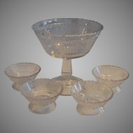 Antique Glass Compote and Berry Bowls ~ EAPG ~ Panels of Forget-Me-Nots / Regal ~ Bryce Brothers Hammondville, Pa. ca 1875