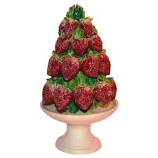 Topiary ~ Italian Majolica Strawberry  ~ Mid Century ~ Hand Painted ~ Made in Italy 1950's