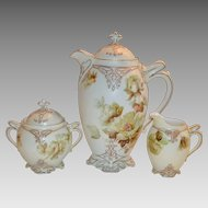 Rare German Chocolate Pot Set with Creamer / Sugar ~ Old Ivory VII ~ Clarion Mold ~ Hermann Ohme Silesia Germany 1900-1920