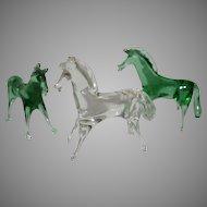3 Italian Hand Blown Glass Horses ~ I1950's ~ Made in Italy