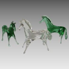 3 Italian Hand Blown Glass Horses ~ I1950's ~ Made in Italy