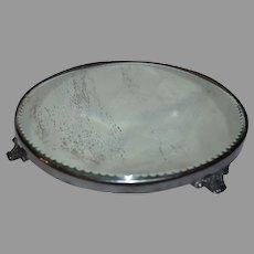 Plateau Mirror / Dresser Tray ~ Oval Beveled Edge ~ Ornate Feet