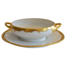 Gravy Boat with attached base ~ Limoges Porcelain ~ White with Gold ~ Jean Pouyat Limoges France / Pickard Studios Chicago IL 1903-1095
