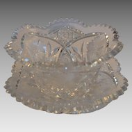 Beautiful  American Brilliant Cut glass mayonnaise bowl with under plate ~ Shirley Pattern ~ Meriden Flint Glass Co 1918