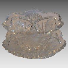 Beautiful  American Brilliant Cut glass mayonnaise bowl with under plate ~ Shirley Pattern ~ Meriden Flint Glass Co 1918