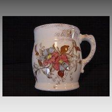 Awesome Polychrome English Shaving Mug ~ Red and Blue Petunia ~ Cumberlidge & Humphreys ~ 1880 – 1889