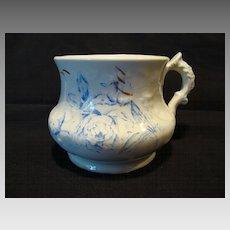 Nice English Shaving Mug ~ Blue Peonies Flowers ~ W.H. GRINDLEY & CO., Ltd. (Staffordshire, UK) - ca 1891 - 1914