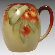 Beautiful Limoges Porcelain Mug ~ Hand Painted with Ripe Cherries
