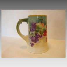 Attractive Limoges Porcelain ~ Mug / Stein / Tankard ~ Hand Painted with a Vibrant Red & Purple Grape Motif ~ Artist Signed LR Wilson ~ William Guerin Limoges France 1900-1932