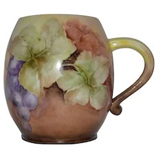 Beautiful Limoges Porcelain Mug ~ Hand Painted with Grapes ~ Jean Pouyat Limoges France 1890-1932