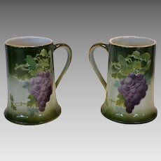 Set of 2 Colorful Mugs ~ French Majolica / Faience ~ Purple Grapes~ Keller & Guerin, France 1890-1930