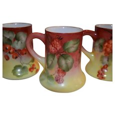 3 Limoges Mugs ~ Currants & Raspberries ~ Hand Painted ~Charles MARTIN ~ Limoges, France  ca 1890s - 1935