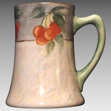 50% OFF!  Beautiful Limoges Porcelain Mug / Stein / Tankard ~ Hand Painted with Pearl Luster and Cherries ~ Artist Signed ~ JPL Jean Pouyat 1890-1932