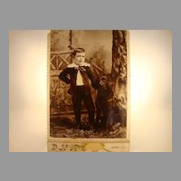 Wonderful Cabinet Card of Boy and Dog ~ Anna, IL 1890's