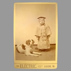 Wonderful Cabinet Card of Boy and Dog~ The Electric. ~ Laclede, MO 1880's