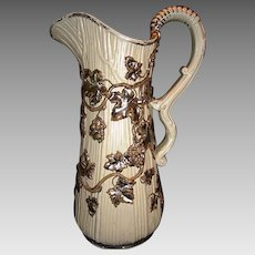 REDUCED!! Fantastic large German Pitcher ~ Overlay Silver Grapes and Vines~ Villeroy Boch Mettlach Germany ca 1880's