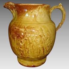 Nice Yellow Ware Pitcher with Christopher Columbus Discovering America ~ Unattributed.