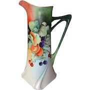 """15 ¼""""  Ewer / Pitcher / Tankard ~Exquisite Limoges Porcelain ~ Hand painted with Cherries, Apples, Blackberries, Plums, Gooseberries and Spider Webs ~ Artist Signed ~ Jean Pouyat Limoges France April 24 1907"""