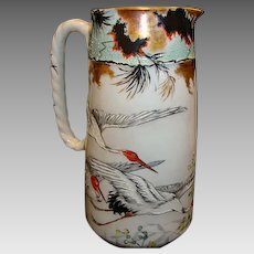 """Awesome early Haviland Asian Inspired Limoges Porcelain rare 8 ½"""" 2 Pint Pitcher ~ Hand Painted Oriental Red-Crowned Crane Motif ~ Haviland & Co Limoges France 1876-1879"""