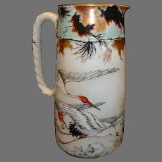 "Limoges Pitcher ~ 8 ½"" 2 Pint Pitcher ~ Hand Painted Oriental Red-Crowned Crane Motif ~ Haviland & Co Limoges France 1876-1879"