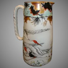 "Limoges Pitcher ~ 8 ½"" 2 Pint Pitcher ~ Hand Painted Oriental Red-Crowned Crane Motif ~ Haviland & Co Limoges France 1876-1879"