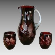 Fantastic Hand-blown and Hand-Cut Dark Ruby Overlay Bohemian Pitcher with Two Tumblers ~ early 1900's