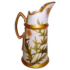 Exquisite Limoges Porcelain Ewer ~ Hand Painted with Purple and Gold Thistles ~ Artist Signed~ Tressemann & Vogt Limoges France Early 1890's