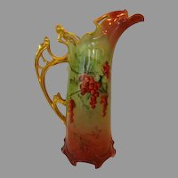 """German Porcelain Pitcher Mold# 640 / Tankard / Ewer ~ 12 ¼"""" H ~ Red Currants ~ Reticulated Gold Handle ~ RS Prussia / RS Germany"""