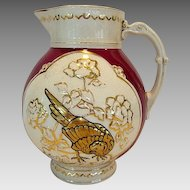 Nice Earthenware Water Pitcher with Golden Pheasant . Circa 1880-1899