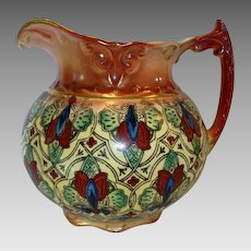 Colorful Faience / Earthenware Haynes Balt Ware Cider / Lemonade Pitcher ~ Art Nouveau Pattern ca.1900 -1914 ~ DF Haynes (Chesapeake Pottery)